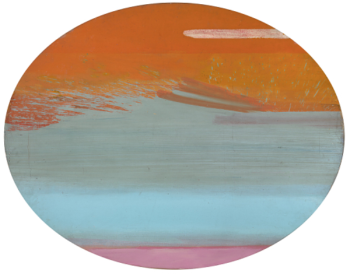 Created by Ed Clark. Oval-shaped abstract acrylic painting with large horizontal brush strokes and three fields of color. The canvas, shaped like a horizontal ellipse, is covered by three main fields of color: orange-red at the top, blue-green in the middle, and pink at the bottom.